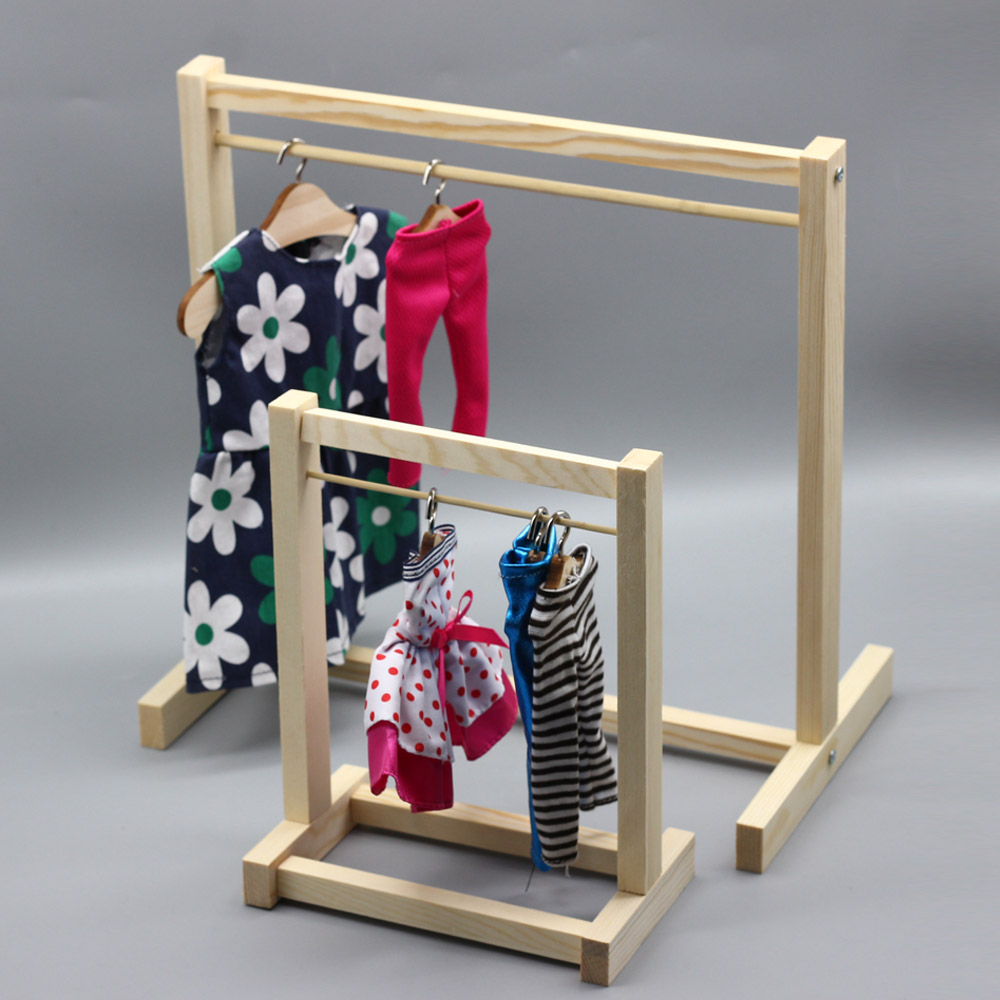Wooden Garment Rack Organizer /& 1//6 1//3 BJD Doll Clothes Hangers Metal Hook