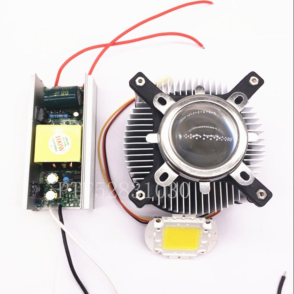 100W LED att High Power warm/cool White LED Light +Heatsink Cooler+100W LED Driver 85-265v high power 100w white 6500k warm white 3500k smd led light input 12 24v dc led driver