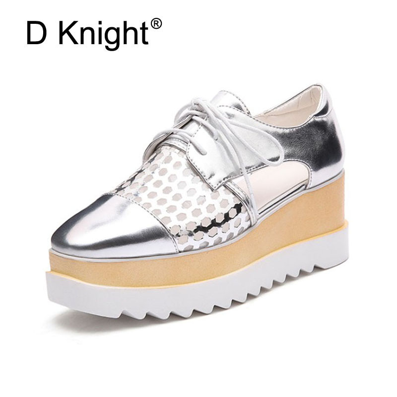 Fashion Women Pumps 2018 High Heels Wedges Platform Summer Pumps For Women Casual Cut-outs Silver Gold Wedge Oxford Brogue Shoes ladies casual platform wedges oxford shoes for women metallic pu cut outs women high heels summer brogue oxfords shoes woman
