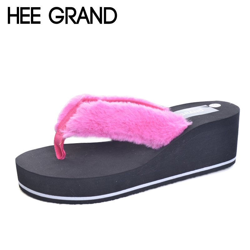 HEE GRAND Fur Flip Flops Beach Shoes Woman Platform Summer Wedges High Heels Casual Creepers Slip On Women Shoes XWT635 hee grand 2017 wedges gladiator sandals bling crystal flip flops sexy high heels gold casual platform shoes woman xwz3463
