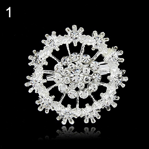 24 Pcs Flower Heart Rhinestone Silver Plated Brooch Pin Wedding Bridal Broach Breastpin