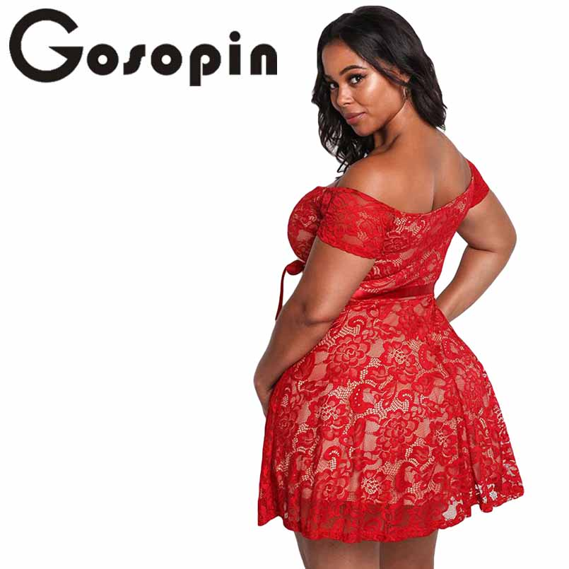 0fdc7d20e62 Gosopin Floral Lace Womens Plus Size Dresses Off Shoulder Mini Sexy Summer  Dress Black Large Size 2018 Skater Party Dress 220195-in Dresses from  Women s ...