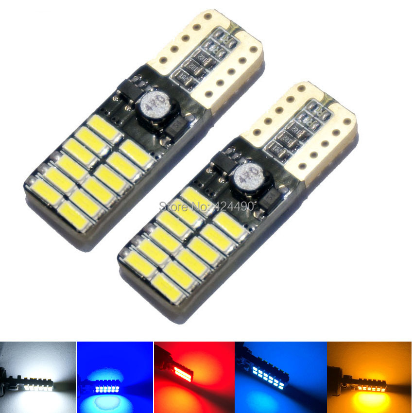 10X T10 led 24smd W5W 194 canbus 24led 3014SMD NO ERROR 12V Car Auto Bulbs Indicator Light White Clearance Lights deechooll 2pcs wedge light for mazda 2 3 5 6 mx5 rx8 cx7 626 gf gg ge gw canbus t10 57smd 6w led clearance xenon lighting bulbs