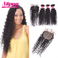 7A Brazilian Virgin Hair With Closure 4pcs,Deep Wave Brazilian Hair With Closure,Curly Weave Human Hair Bundles With Closure