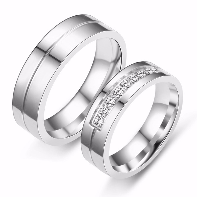 Romantic Wedding Rings For Lover Gold-Color Stainless Steel Couple Rings For Eng
