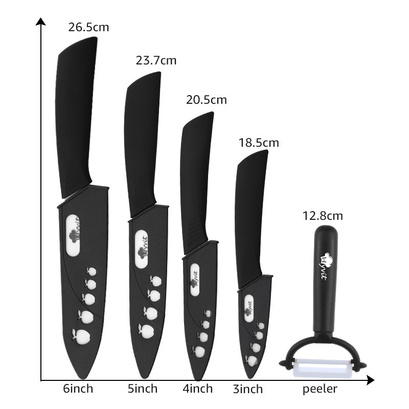 Ceramic Knives Kitchen knives 3 4 5 6 inch Chef knife Cook Set+peeler white zirconia blade Multi-color Handle High Quality 4