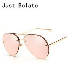 New 2017 Pilot Women Sunglasses Brand Vintage Sun glasses Women Aviation Sunglasses Men Metal Frame Pink Oversize 62mm Shades