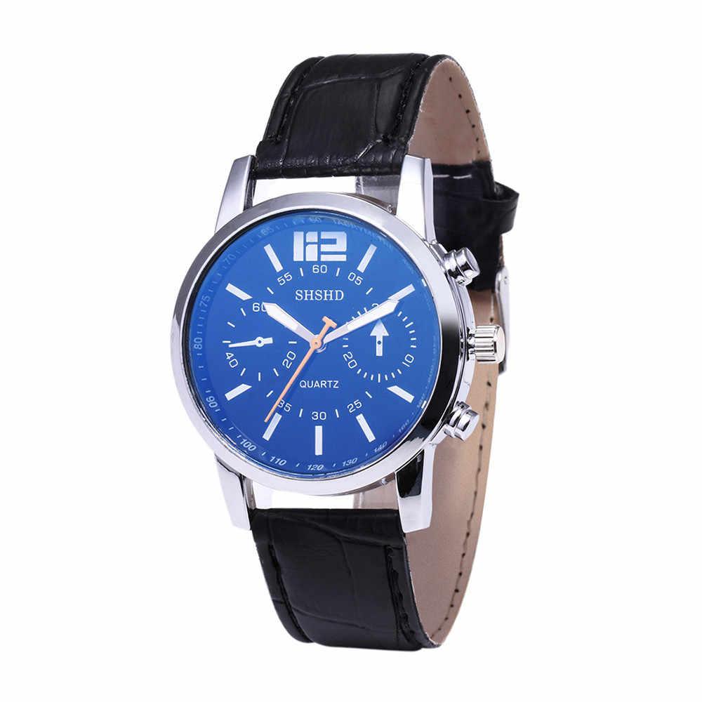 Rayo Azul cristal de cuarzo neutro simula muñeca correa de cuero epidérmico reloj de pulsera para hombre regalos