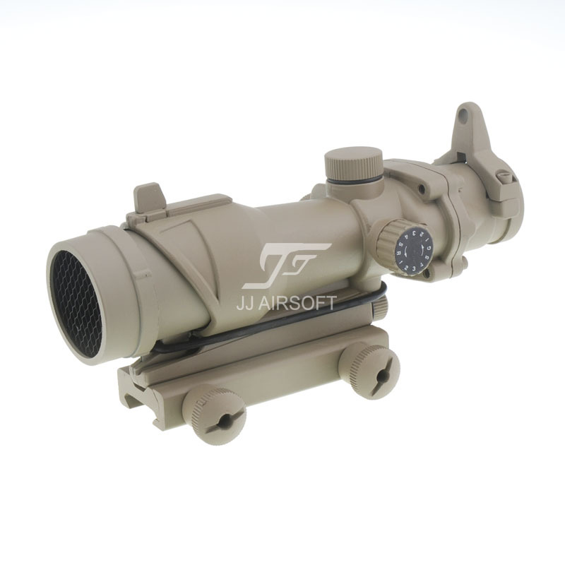 JJ Airsoft ACOG Style 4x32 Scope Red/Green Reticle with Killflash / Kill Flash (Tan) Full Line Red Illumination FREE SHIPPING jj airsoft micro 1x24 red dot with killflash kill flash