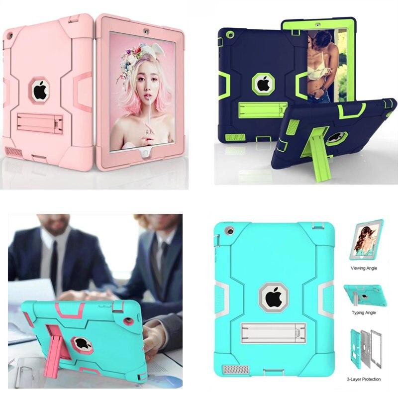 For Apple iPad 2 iPad 3 iPad 4 Retina Kids Safe Armor Shockproof Heavy Duty Silicon Hard Plasic Case Cover For Ipad2 ipad4 ipad3