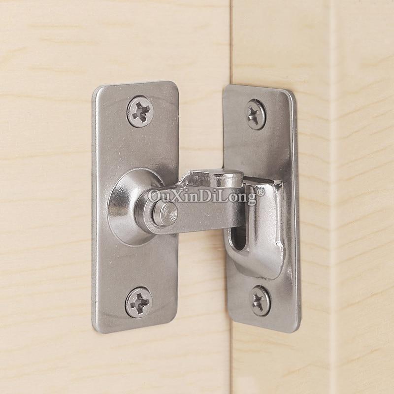 Alta qualidade 4 pçs aço inoxidável porta hasps 90 graus ângulo direito fivela de porta gancho fechadura da porta deslizante parafuso bloqueio ferragem