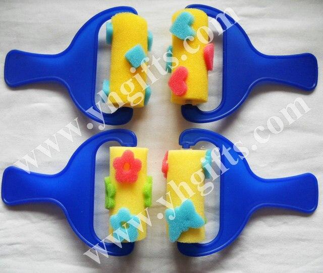12PCS LOTMixed Design Art Sponge Brushes With HandlePainting StampSponge