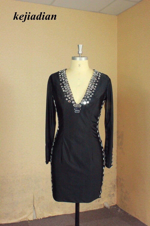 Sexy Black Long Sleeve Short Cocktail Dresses V neck Ladies Women Beautiful Prom Coctail Dress for Party vestidos de coctel
