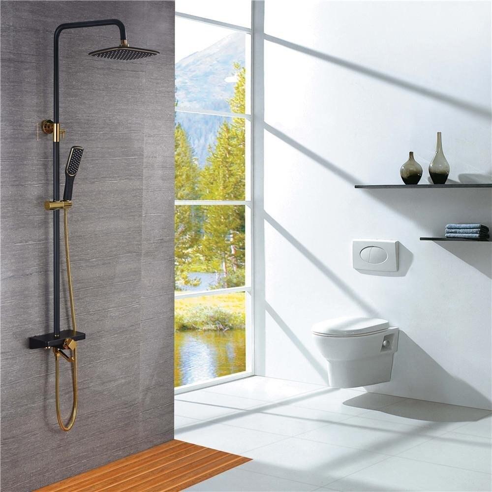 Ensemble de douche de luxe en or noir douche antique ensemble de douche en or salle de bain couleur noire douche thermostatique IS878