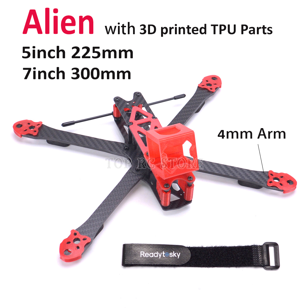 Alien RR5 X 5inch 225 225mm / 7inch 300mm Carbon fiber with 4mm Arm quadcopter frame kit with 3D printed TPU Parts for Runcam 3s