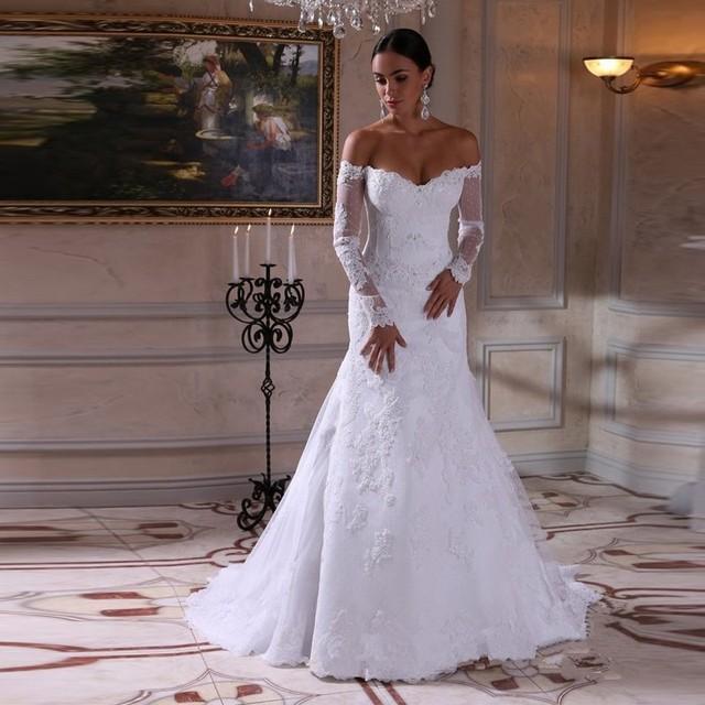 white full long lace sleeve muslim wedding dresses 2017 off