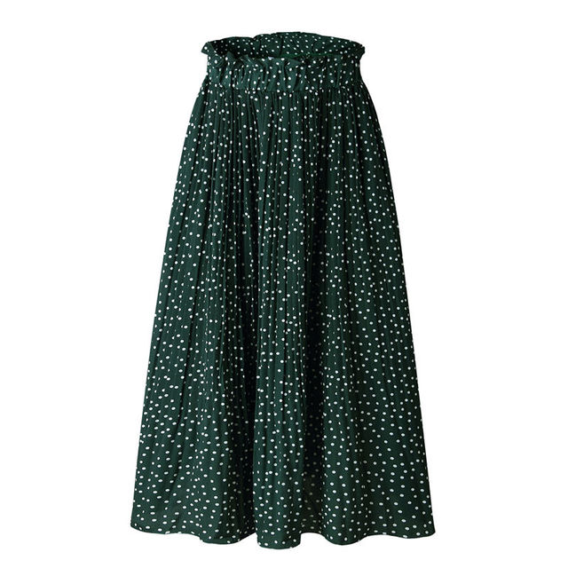 2019 Summer Casual Chiffon Print Pockets High Waist Pleated Maxi Skirt Womens Long Skirts For Women