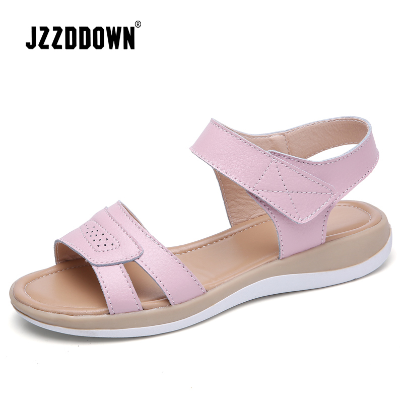 Women's Genuine Leather Flat Beach Sandals Shoes Summer Ladies Flip Flops Slippers Casual Girls Gladiator Sandals Shoe