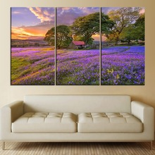 Purple Flower Field Paintiing One Set 3 Piece Modular Style Picture Modern Canvas Print Type Home Decorative Wall Artwork Poster