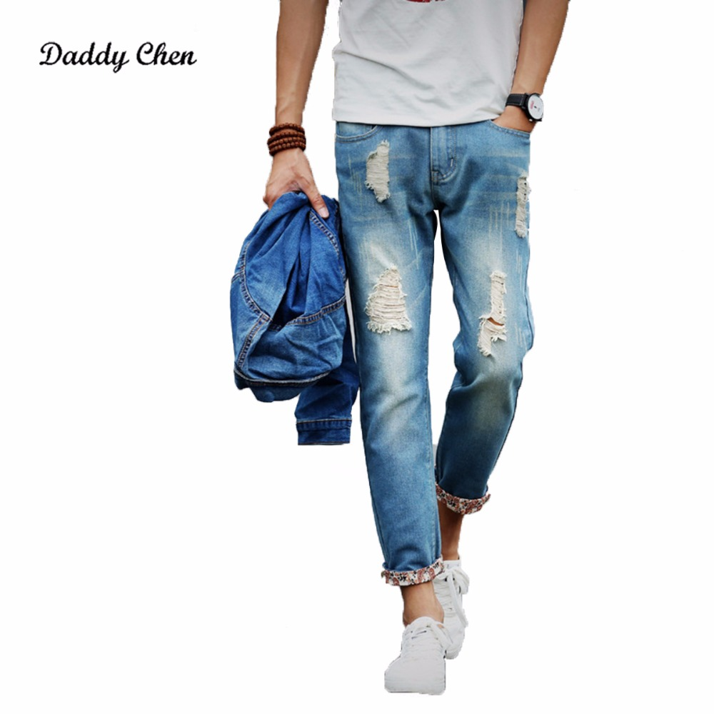 2017 Brand Autumn Jeans Men Hole Ripped Slim Denim Trousers Biker Jeans Skinny Jean Male High Quality waist Plus Size jeans men jeans 2017 autumn winter mens denim jean blue cotton pants men denim trousers slim fit jeans male plus size high quality