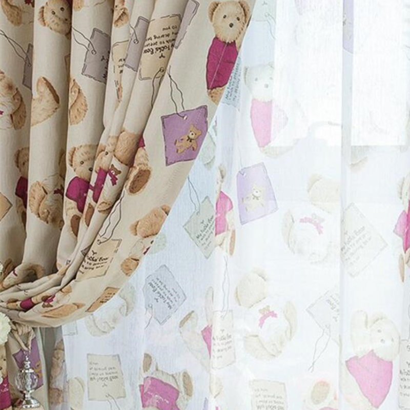 de dibujos animados oso lindo impreso cortinas de la habitacin del beb pao de la cortina