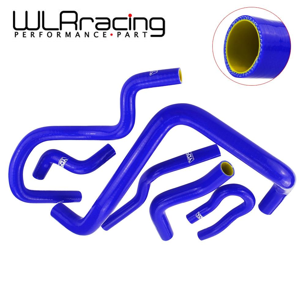 WLR RACING-Bleu et jaune Silicone Tuyau de Radiateur Kit pour HONDA CIVIC SACT D15 D16 EG EK 92- 00 6 pcs avec PQY logo WLR-LX1303C-QY