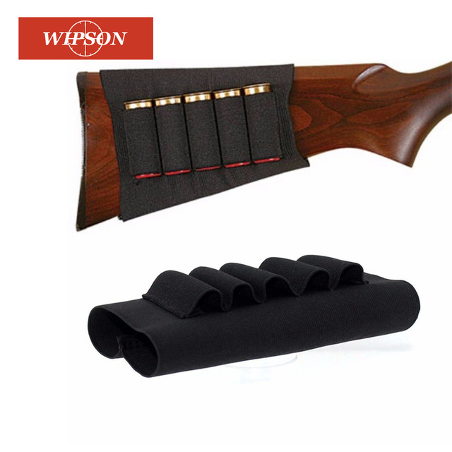 WIPSON Airsoft Rifle Hunting Tactical Shot Gun Pouches 5 Butt Cartridges Stock Shell Holder Elastic Fabric Carrier Pouch