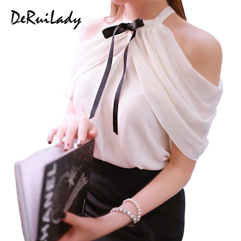1c54cfe153a6c8 DERUILADY Off Shoulder Top Women Sexy Shirt 2018 New Summer Office Lady  White Elegant Blouses Ladies
