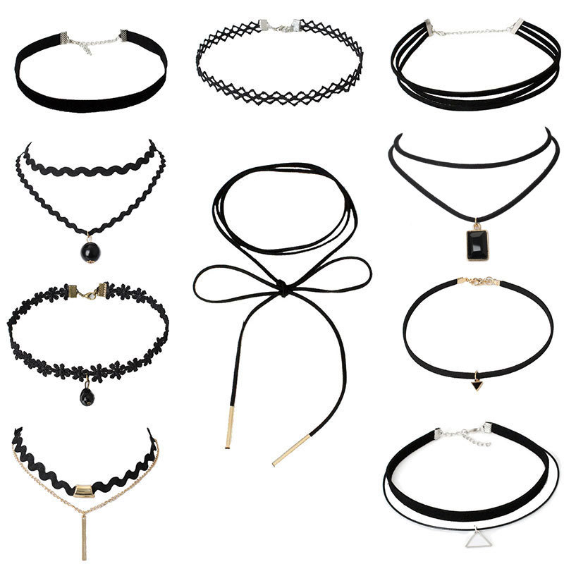 Hot Sale Choker Necklace Black Lace Leather Velvet strip woman Collar Party Jewelry Neck accessories chokers Factory wholesale