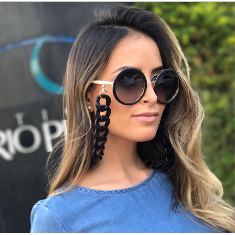 Retro 70cm Glasses Chain For Women Fashion European Black White Lanyards 37g corrente para oculos de sol