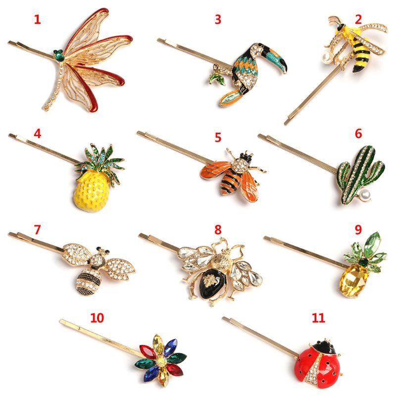 Trendy Fashion Women Hair Accessories Exquisite Personality Zircon Fruit Bee Flower Modeling Hairpin Girls Hair Clip