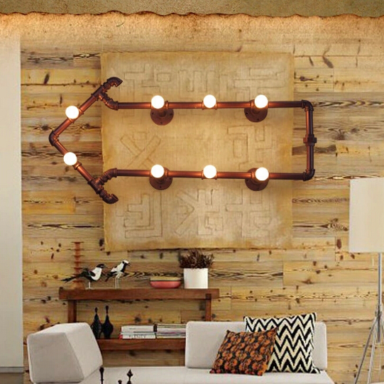 Vintage water pipe arrows wall lamps american industrial country vintage water pipe arrows wall lamps american industrial country wall lights fixture cafes pub bar foyer dining room lighting in wall lamps from lights aloadofball Gallery