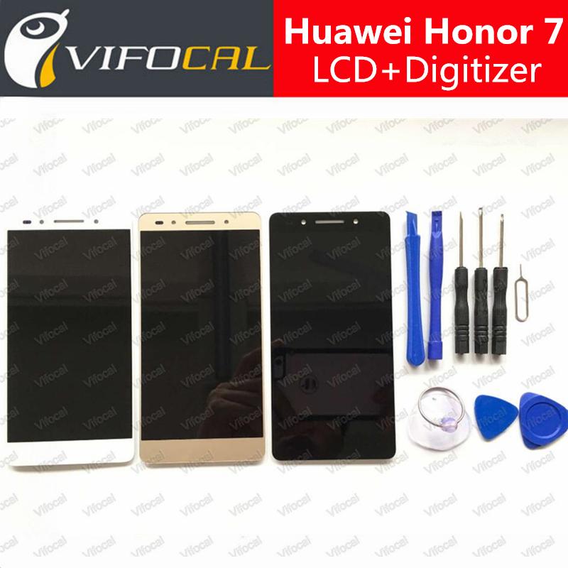 Prix pour Pour huawei honor 7 lcd display + écran tactile 100% nouveau digitizer assemblée remplacement 5.2 pouce fhd mobile téléphone accessoires
