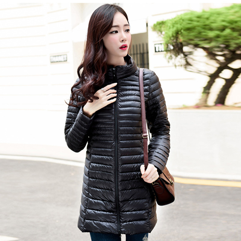 autumn and winter down jacket Women  thin down jackets 90% white duck down coat    s-3XL