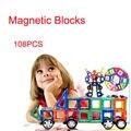 108 pcs Designer de Construção Magnético Blocos Magnéticos Educacionais Set Crianças Inserido Buidling Brinquedos para Presentes