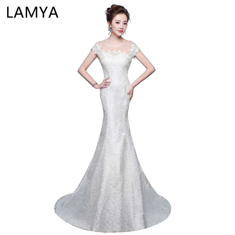 97981f8f73d LAMYA Elegant Lace Trumpet Wedding Dresses Plus Size Applique Vintage O  Neck Mermaid Bridal Gown vestido