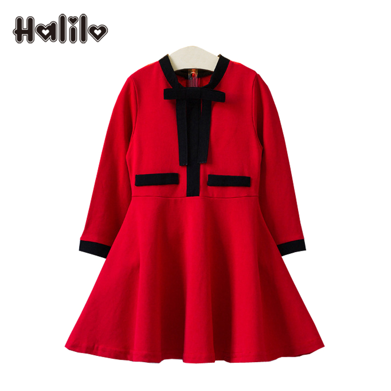Halilo Toddler Girl Dresses Fall 2017 Girls Long Sleeve Dress Red Princess Costume Autumn Kids Clothes Girls Christmas Dress видеорегистратор artway av 711 av 711