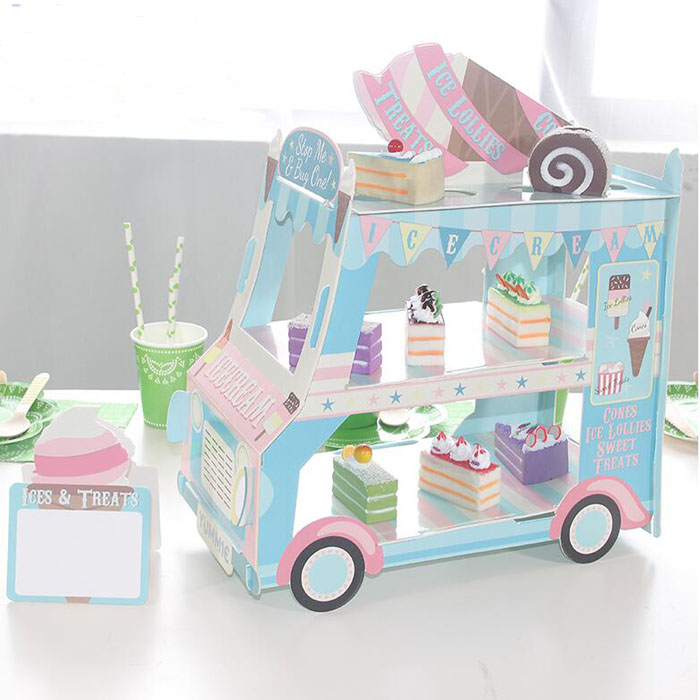 1pcs Ice Cream Van Stand Cars Display Stand Baby Shower Wedding Party Decor Cake Dessert Muffin Display Tray Birthday Decor