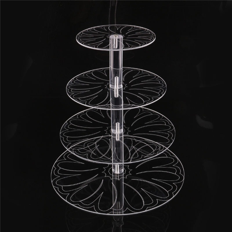 Image 4 - New Round Acrylic 3/4 Tier Cupcake Cake Stand Cake Holder Assemble and Disassemble Home Birthday Tools Wedding Party Stands-in Stands from Home & Garden on AliExpress
