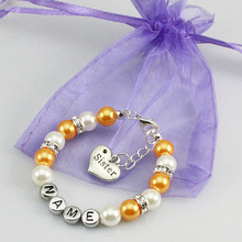 New name Personalised Girl baby Birthday Christmas Gift Charm name Bracelet with bag gold