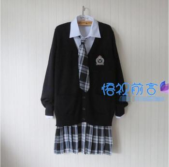 Plus Size Preppy Style JK School Uniform Black Sweater Cardigan Jacket Harajuku Japanese School Uniform Sweater+Shirt+Tie+Skirt