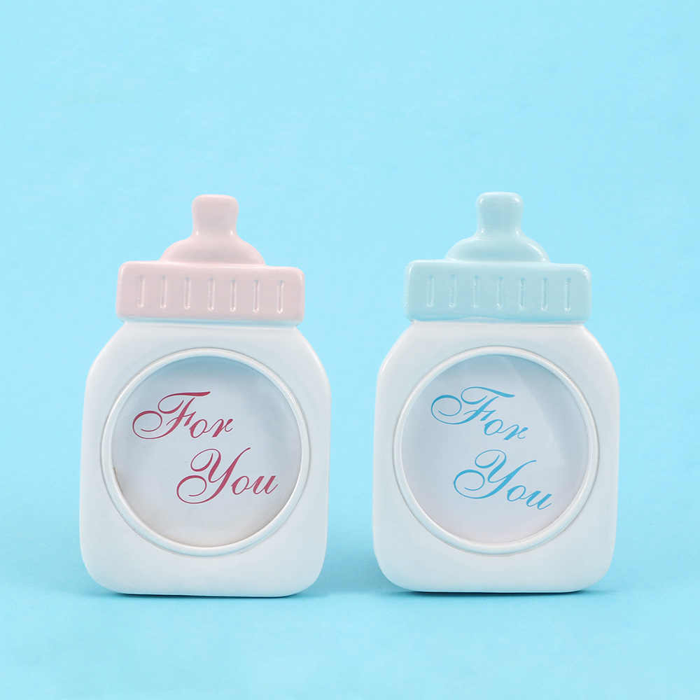 1Pc Lovely Blue Pink Baby Bottle Shape Photo Frame For Baby Shower Sweet Kids Birthday Supplies