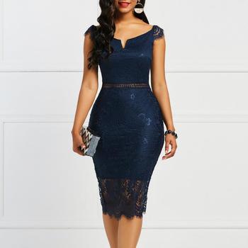 Женское винтажное кружевное платье с V-образным вырезом 5