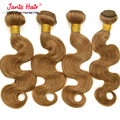 4 Bundles Light Brown Virgin Hair 8A Unprocessed Brazilian Virgin Hair Body Wave Honey Blonde Hair Extensions Grace Virgin Hair