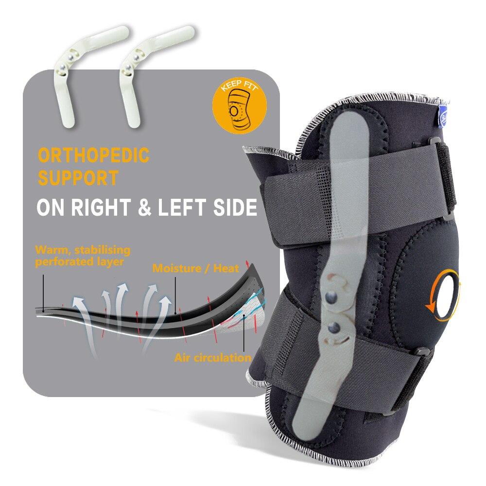 3211f4047 Respirável ajustável Knee Brace Estabilizador Do Joelho Pads Guarda Apoio  Ortopédico com Dobradiça Flexível Interno Joelheiras