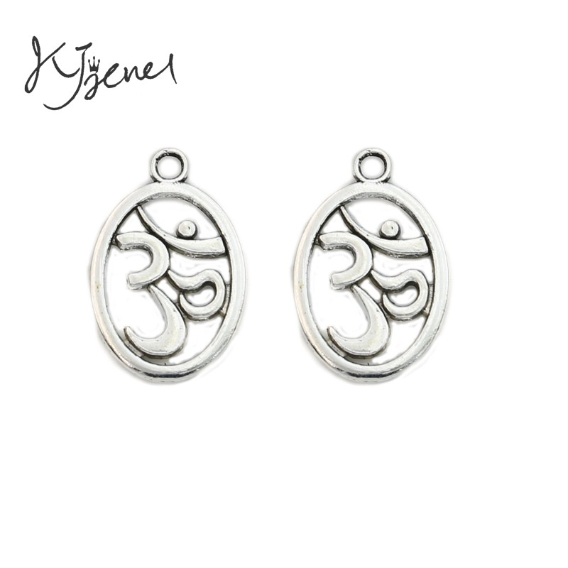 KJjewel Antique Silver Plated Yoga Sign Charms Pendants Jewelry Findings DIY Jewelry Making Handmade 22x14mm