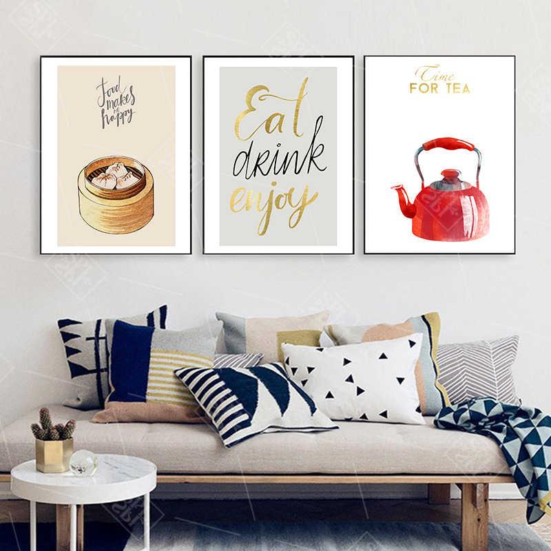 Abstrakte Dekoration Poster Chinesischen Restaurant Knödel Lebensmittel Hd Druck Leinwand Malerei Wand Kunst Bild für Küche Zimmer