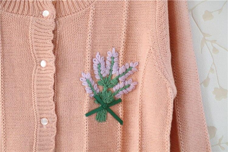 Sweet Mori Girl Flower Embroidered Bow Tie Cardigan Sweater Knit Kimono Cardigan Coat Women Autumn Winter Cardigan Jacket Coats