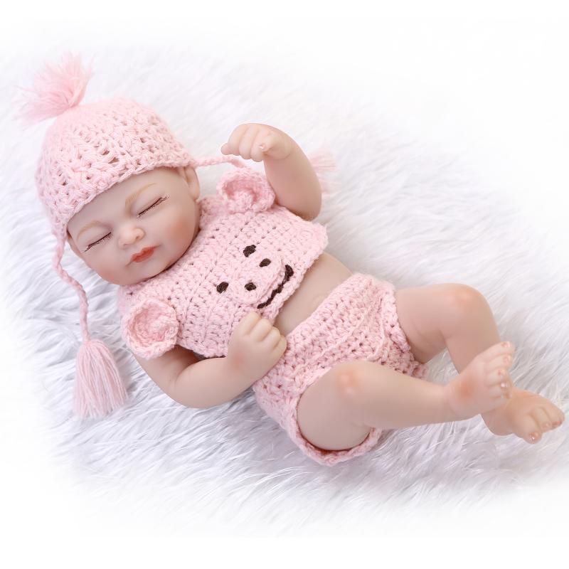 25cm Full body silicone reborn baby dolls toy mini newborn
