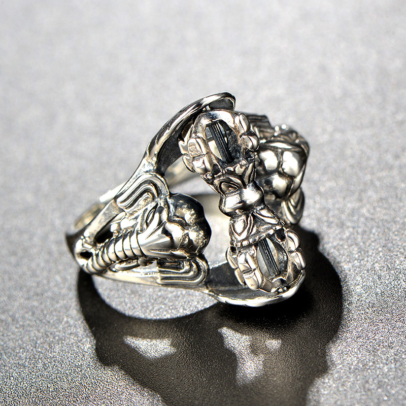 Unique vintage punk style ring sterling silver vajry Vintage style fashion rings